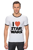 "Футболка ""Рингер"" (Мужская) ""I love Star Wars"" - фантастика, star wars, культовый фильм, звёздные войны"