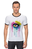 "Футболка ""Рингер"" (Мужская) ""Глаз Алмаз"" - splash, арт, авторские майки, color, eye"