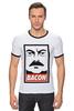 "Футболка Рингер ""Bacon (Obey)"" - ron swanson, бекон, парки и зоны отдыха, рон свонсон, bacon"