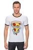 "Футболка ""Рингер"" (Мужская) ""Пицца Навсегда"" - пицца, pizza, pizza forever"