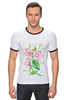 """Футболка """"Рингер"""" (Мужская) """"Цветы душистый горошек"""" - арт, цветы, весна, акварель, spring, горошек"""