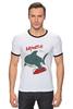 """Футболка """"Рингер"""" (Мужская) """"Акула (Baywatch)"""" - акула, спасатели малибу, baywatch"""