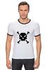 "Футболка ""Рингер"" (Мужская) ""Pixel Art Skull"" - skull, череп, pixel art, пиксельарт, pixelart, пиксельная графика"