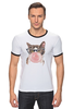 "Футболка ""Рингер"" (Мужская) ""Забавная кошка"" - модно, кошки, casual, bubble gum"