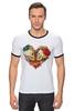 "Футболка Рингер ""Skull Art"" - skull, череп, сердце, heart, цветы"