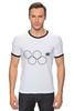 """Футболка Рингер """"Олимпийские кольца в Сочи 2014"""" - олимпиада, нераскрывшееся олимпийское кольцо, олипийские кольца, сочи-2014"""