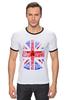 "Футболка ""Рингер"" (Мужская) ""Skull Art"" - skull, череп, uk, british flag, британский флаг"