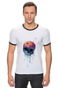 "Футболка ""Рингер"" (Мужская) ""Bleeding skull"" - skull, череп, apple"