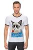 """Футболка Рингер """"Грустный Кот"""" - приколы, cat, котэ, трубка, grumpy, sailor, моряк"""