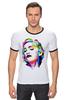 "Футболка Рингер ""Мадонна (Madonna)"" - madonna, мадонна, полигоны, polygons"