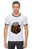 "Футболка Рингер ""Russian Bear (Русский медведь)"" - bear, медведь, россия, russia, путин"