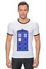 "Футболка ""Рингер"" (Мужская) ""Tardis (Тардис)"" - сериал, doctor who, tardis, доктор кто, машина времени, телефонная будка, time machine, police box, phone box, полицейская будка"