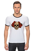 """Футболка """"Рингер"""" (Мужская) """"Mrs. Skull"""" - череп, цветы, рисунок"""