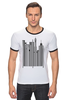 "Футболка ""Рингер"" (Мужская) ""Сити-код"" - арт, город, дизайн, city, код, barcode, урбанизм"