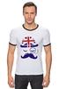 """Футболка """"Рингер"""" (Мужская) """"Английский джентельмен"""" - джентельмен, усы, uk, великобритания, моноколь"""