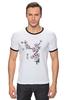 """Футболка """"Рингер"""" (Мужская) """"Японская сакура"""" - цветы, вишня, иероглифы, сакура"""