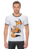 "Футболка ""Рингер"" (Мужская) ""Две Лисички (fox)"" - fox, лиса, лисенок, лисичка"
