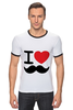 "Футболка Рингер ""I love усы"" - swag, усы, mustache, лов, i love mustache"