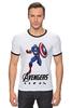 "Футболка ""Рингер"" (Мужская) ""Капитан Америка"" - мстители, avengers, капитан америка, captain america"