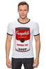 """Футболка """"Рингер"""" (Мужская) """"Campbell's Soup (Энди Уорхол)"""" - поп арт, энди уорхол, pop art, andy warhol"""