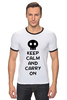 "Футболка Рингер ""Keep Calm And Carry On"" - zombie, keep, calm, carry"