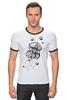 "Футболка ""Рингер"" (Мужская) ""Meduzz T2"" - море, графика, медуза, дотворк, jellyfish, tm kiseleva"