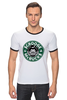 "Футболка ""Рингер"" (Мужская) ""Scrooge McBucks (Starbucks)"" - пародия, coffee, старбакс, макдак, скрудж"