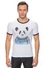 "Футболка ""Рингер"" (Мужская) ""Панда"" - панда, panda"