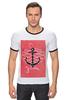 """Футболка Рингер """"Je t'aime"""" - любовь, море, якорь, anchor"""