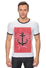 "Футболка ""Рингер"" (Мужская) ""Je t'aime"" - любовь, море, якорь, anchor"