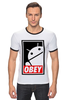 "Футболка ""Рингер"" (Мужская) ""Android (Obey)"" - android, робот, obey, андроид, повинуйся"