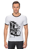 "Футболка Рингер ""Мотоциклы"" - white, black, motorcycle, bike, harley"