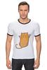 """Футболка """"Рингер"""" (Мужская) """"Рыжий кот"""" - кот, cat, рыжий кот, смешной кот"""
