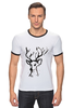 "Футболка Рингер ""dear deer"" - графика, олень, deer, tseart"