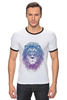 "Футболка Рингер ""Лев_Арт"" - царь, king, лев, король, lion, animal, leo, львы"