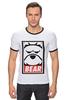 "Футболка ""Рингер"" (Мужская) ""Мишка (Bear, Obey)"" - bear, медведь, obey"