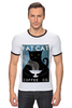 """Футболка """"Рингер"""" (Мужская) """"Fat Cat"""" - любовь, кот, кошка, кофе"""