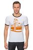 "Футболка ""Рингер"" (Мужская) ""Трамвай "" - прикол, арт, orange, city, tram"