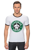 """Футболка """"Рингер"""" (Мужская) """"Starman Coffee """" - пародия, кофе, starbucks, старбакс, starman"""