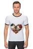 """Футболка """"Рингер"""" (Мужская) """"Любить друг друга вечно"""" - сердце, цветы, черепа, акварель"""