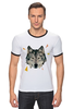 """Футболка """"Рингер"""" (Мужская) """"Волк (Wolf)"""" - pixel, волк, wolf, полигоны, polygon"""