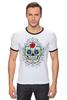 """Футболка """"Рингер"""" (Мужская) """"Цветочный череп"""" - skull, череп, арт, цветы"""