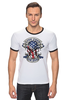 "Футболка ""Рингер"" (Мужская) ""Skull Art"" - череп, free, американский флаг, american flag, череп и кости"
