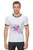 """Футболка """"Рингер"""" (Мужская) """"Розовая орхидея"""" - акварель, орхидея, розовый цветы"""