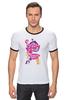 "Футболка ""Рингер"" (Мужская) ""My Little Pony: Friendship is Magic Logo"" - rainbow dash, my little pony, applejack, rarity, friendship is magic, fluttershy, twilight sparkle, pinkie pie"