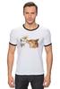 """Футболка Рингер """"Лис. Акварель"""" - графика, лис, цветы, fox, акварель"""
