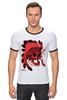 """Футболка Рингер """"Skull"""" - skull, череп, рисунок, индеец, дикий запад"""