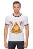 """Футболка """"Рингер"""" (Мужская) """"Кусочек Пиццы (Pizza)"""" - пицца, pizza, колбаска, яичко"""