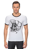 "Футболка Рингер ""DEAD HIPSTER"" - череп, хипстер, рисунок, крест, face"