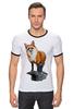 """Футболка """"Рингер"""" (Мужская) """"Лисица"""" - животные, red, рисунок, fox, лиса, рыжая"""